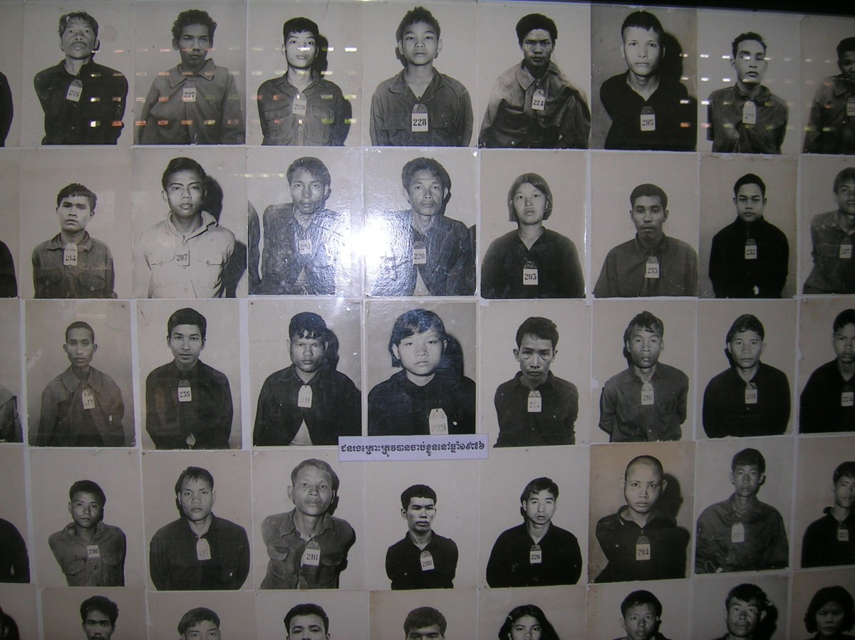 Photos of people in the S21 'interrogation centre' tortured to death by the Khmer Rouge